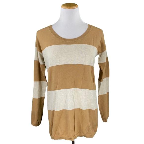 Anne Klein Tan & Cream Striped Long Sleeve Scoop Neck Light Knit Sweater